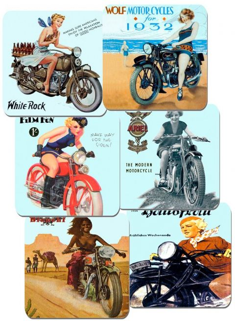 1930's Girls and Motorcycles Coasters Set Of 6 Motorbike Biker Classic Bike Gift
